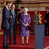 The pair shared a joke at a Buckingham Palace reception to mark the Rugby World Cup in October 2015.