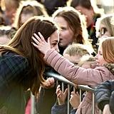 Girl Touching Kate Middleton's Hair in Scotland Jan. 2019