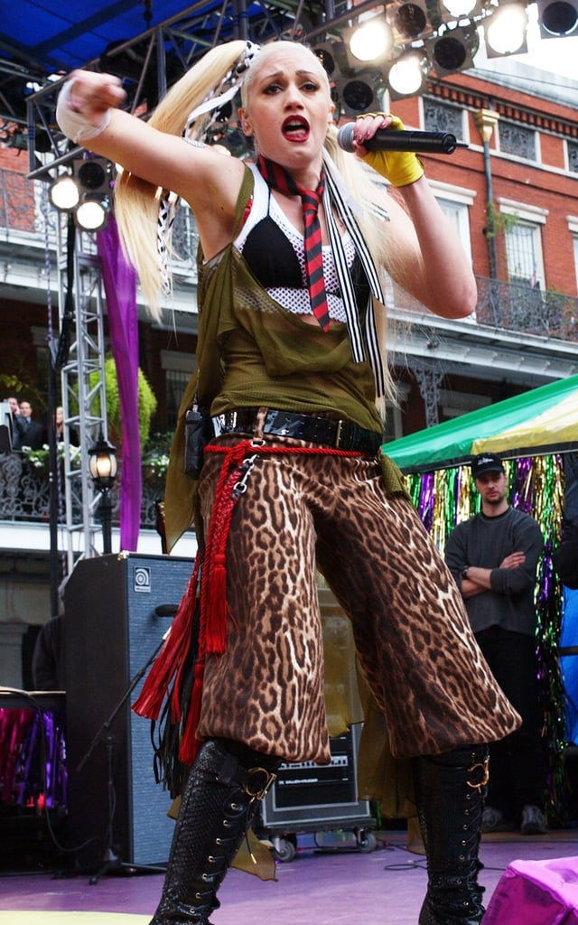 Gwen Stefani performed during MTV Mardi Gras 2002 at Jackson Square Park in New Orleans.