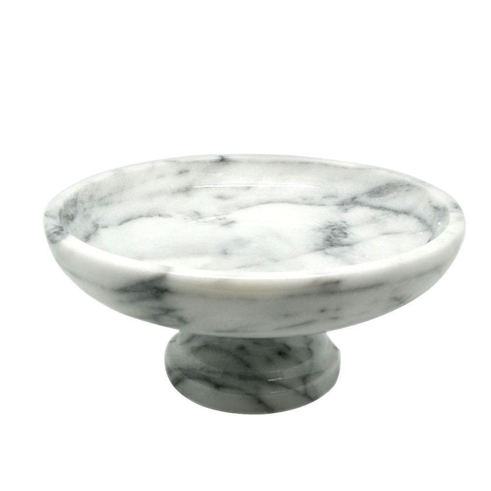 Creative Home Fruit Bowl on Pedestal in White Marble