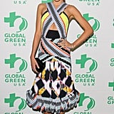 Miranda Kerr pulled off Peter Pilotto's bold printed, cutout confection flawlessly at the Global Green pre-Oscars party.