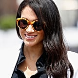 Meghan wore the Illesteva Palm Beach style, a statement cat eye, in the amber colorway.