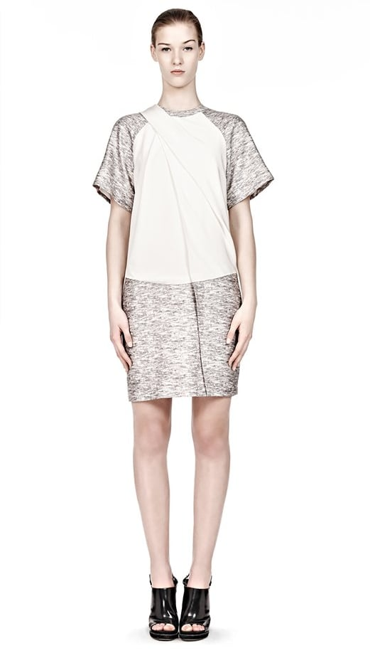 In off-white and gray, this relaxed Alexander Wang dress ($925) is ready to be worn now. Pair with black tights and ankle boots as soon as the first breath of crisp Fall weather rolls in.