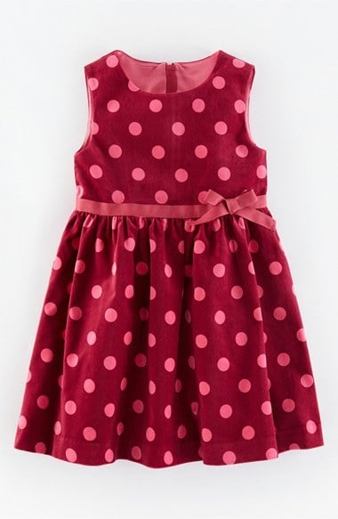 Mini Boden 'Spotty' Velvet Fit & Flare Dress