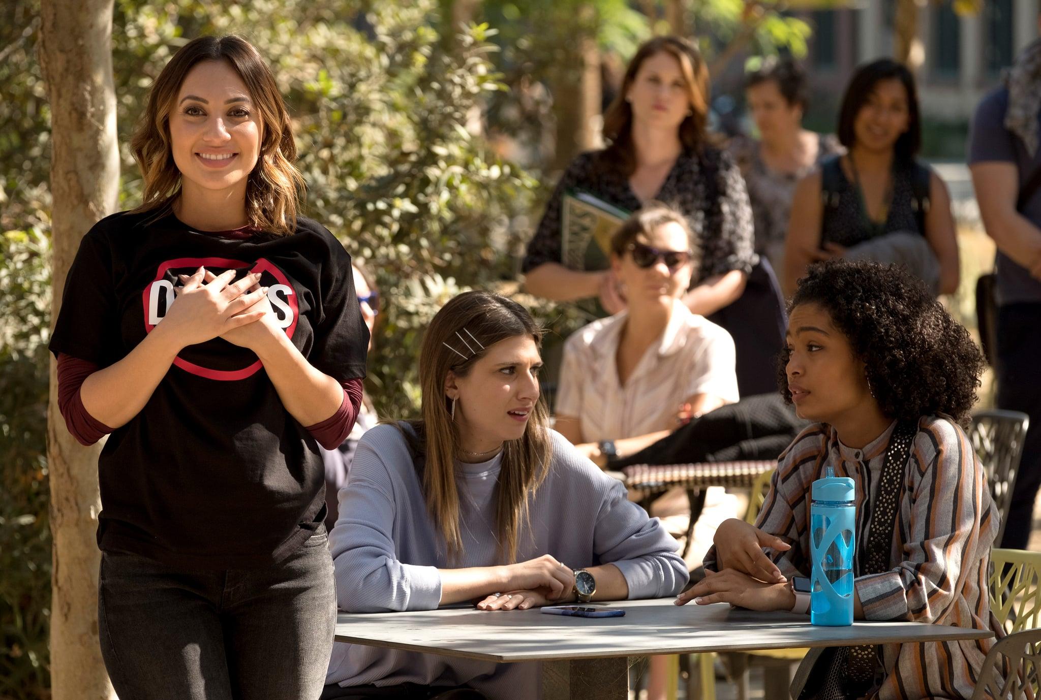 GROWN-ISH, l-r: Francia Raisa, Emily Arlook, Yara Shahidi in 'Who Gon Stop Me' (Season 1, Episode 9, aired February 28, 2018). ph: Tony Rivetti/ Freeform/courtesy Everett Collection