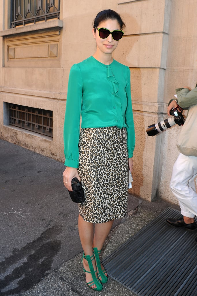 We're dying over Caroline Issa's Phillip Lim green sandals.