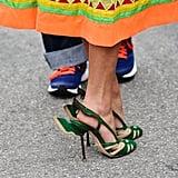 Ilgin Ucin's hunter-green Prada shoes deserve the proper zoom-in.