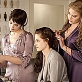 Kristen Stewart gets primped and prepped by Nikki Reed and Ashley Greene's characters before Bella's wedding.