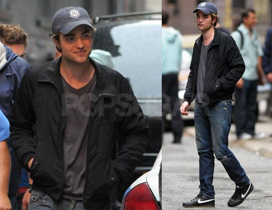 Photos of Robert Pattinson Filming Remember Me Wearing a Hat in NYC