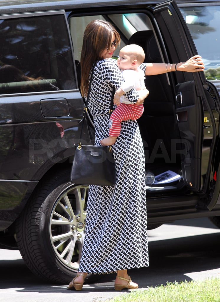 Miranda Kerr had baby Flynn right by her side Saturday afternoon for a visit to Santa Barbara. Miranda was sporting a familiar maxi dress while Flynn was adorable in red and white. The pair were in good company as Frankie, her faithful Yorkshire Terrier pup, joined them on the trip north to see friends. Orlando couldn't join his family on their outing as he was on his own journey, biking around their LA neighborhood. Miranda recently returned from a trip to the East Coast where she met up with another supermodel, Heidi Klum. The pair went on a jog through Manhattan and it's Miranda and Heidi's dedication to fitness that landed both of them in this year's PopSugar Bikini Bracket. Currently Miranda's locked on to the number four spot right behind Jennifer Aniston, Kim Kardashian and current leader, Halle Berry— be sure to fill out your bracket for a chance to win $1,000 from J.Crew!