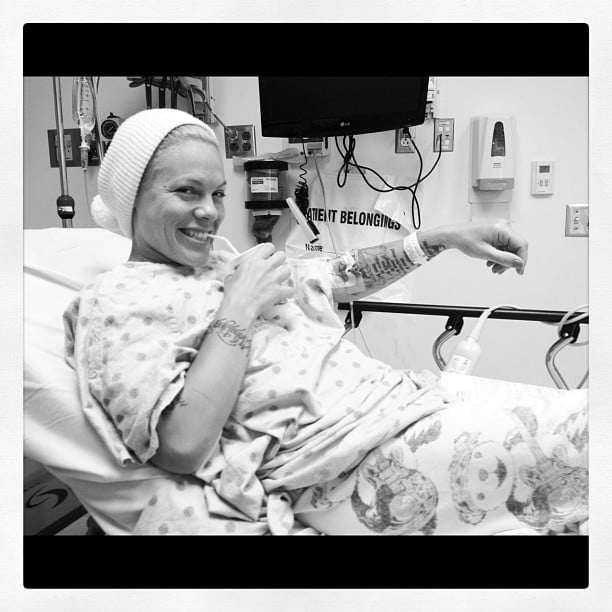 Pink made an unplanned trip to the ER after falling ill.  Source: Instagram user pink