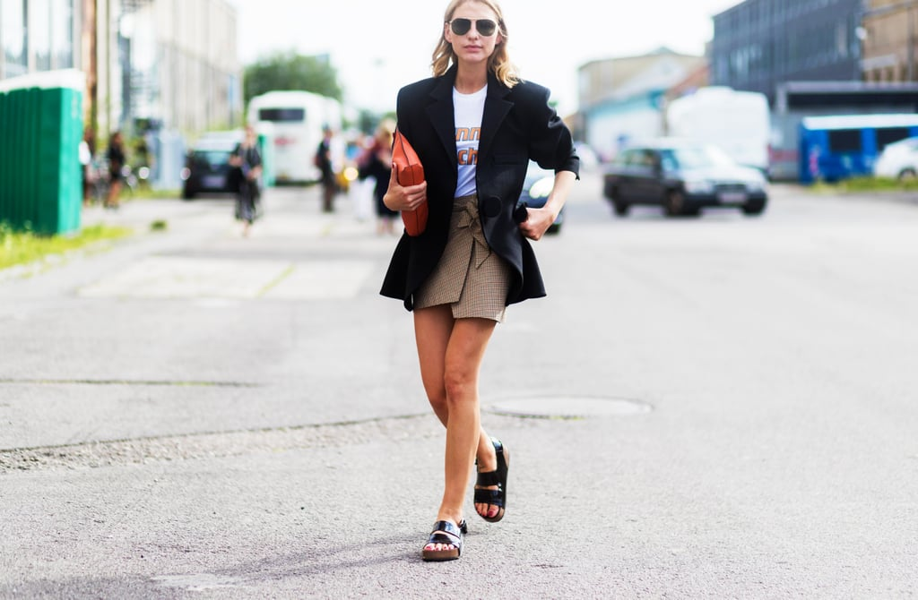 With a Blazer And Mini Skirt
