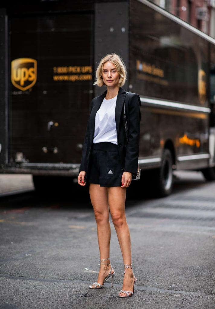 Make Your Blazer Set Less Formal With a White Tee and Strappy Sandals