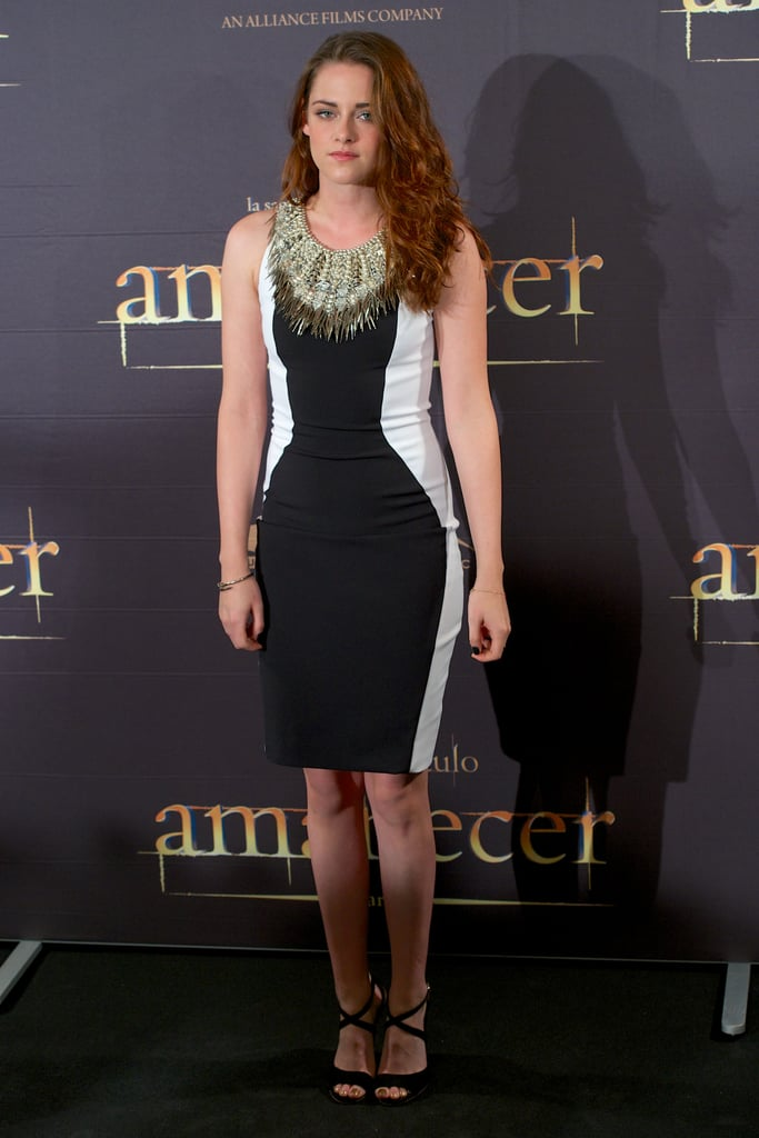Kristen Stewart stepped out in a black and white dress.