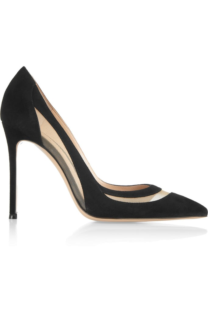 Gianvito Rossi Mesh-Paneled Suede Pumps ($770)