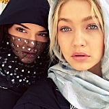 We're digging Kendall's sparkly headscarf.