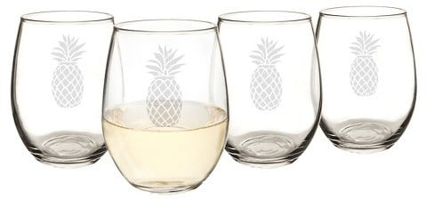 Pineapple Stemless Wine Glasses ($45 for set of 4)