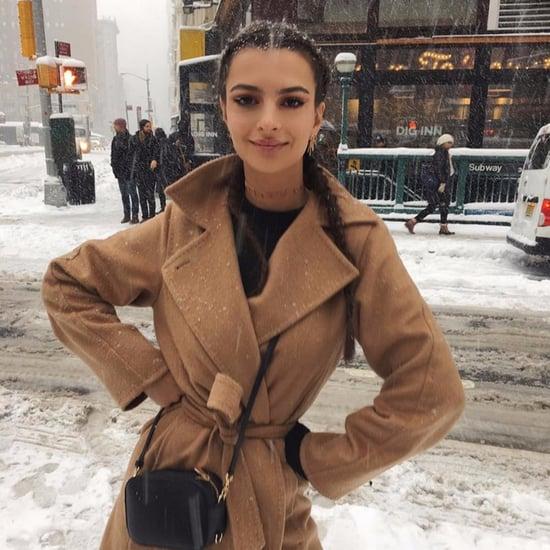 Emily Ratajkowski Camel Coat