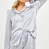 Missguided Grey Satin Pyjama Set, Grey