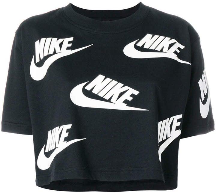 a80d09033a3 Nike Logo Print Cropped T-Shirt | Workout Crop Tops | POPSUGAR ...