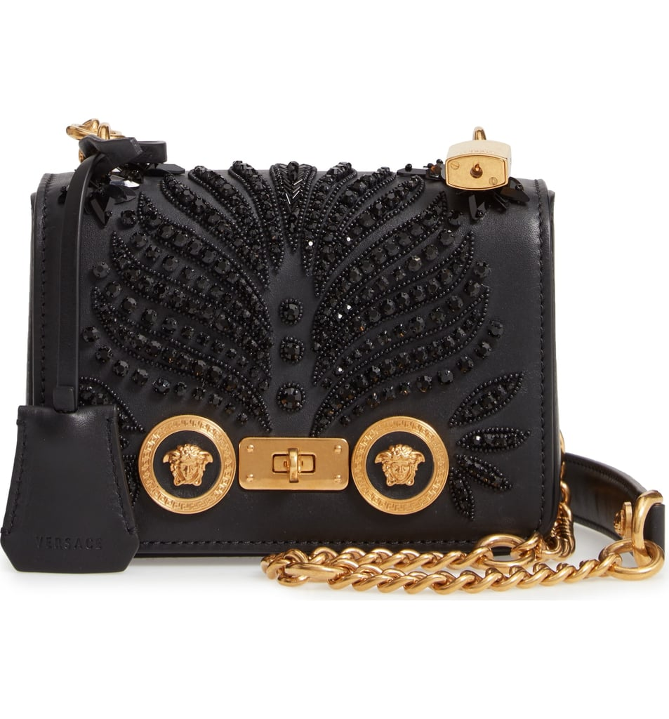 Versace Icon Crystal Embellished Leather Crossbody Bag