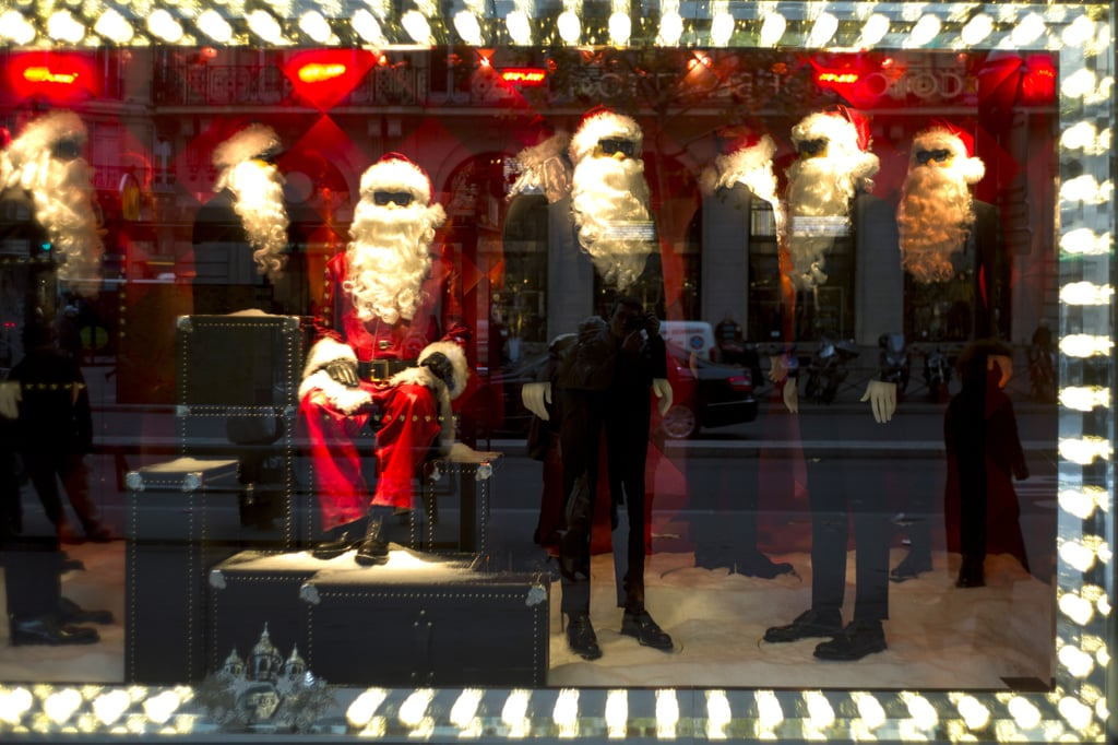 In Paris, cool Santas were on display at the Printemps department store.