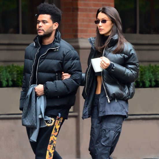 Bella Hadid Wearing a Crop Top and Puffer With The Weeknd