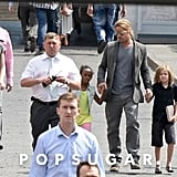 Brad Pitt held Shiloh and Zahara's hands in Russia.
