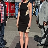 Gwyneth Paltrow donned a LBD for a stop on Good Morning America in NYC.