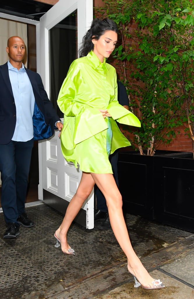 Kendall Jenner Clear Heels With Neon