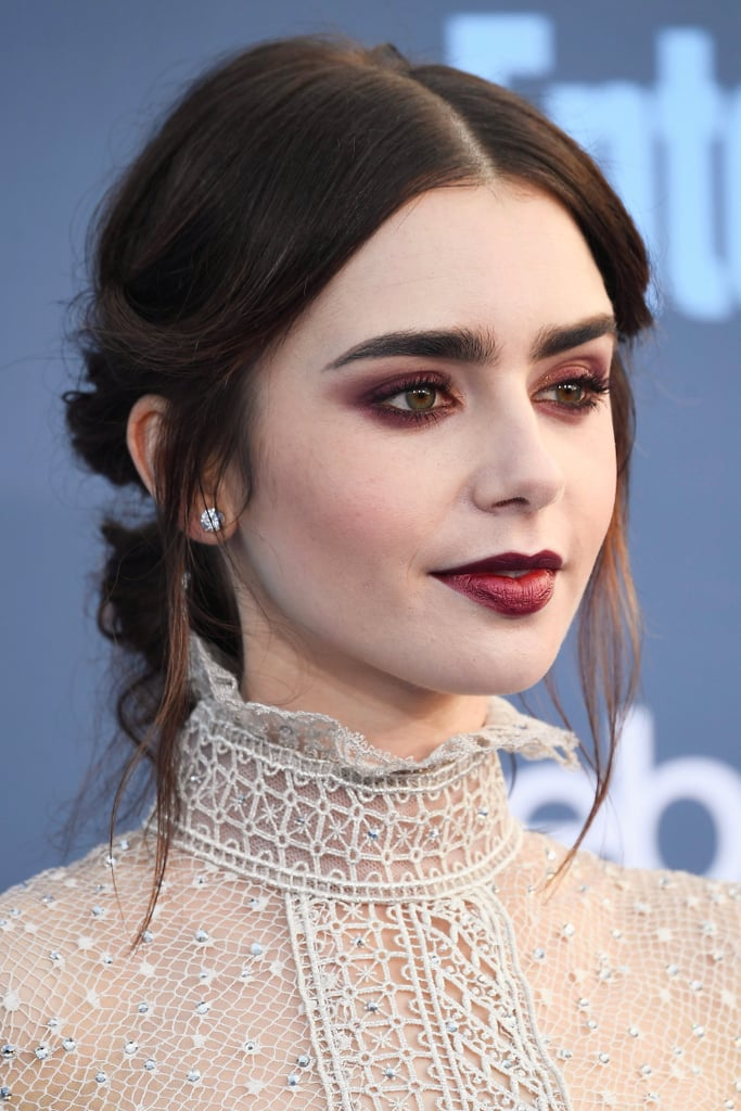 Lily Collins' Makeup and Hair at 2017 Critics' Choice ...