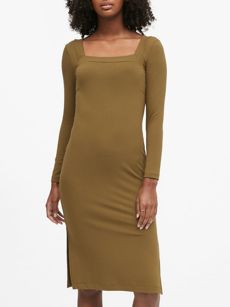 Ribbed Square-Neck T-Shirt Dress