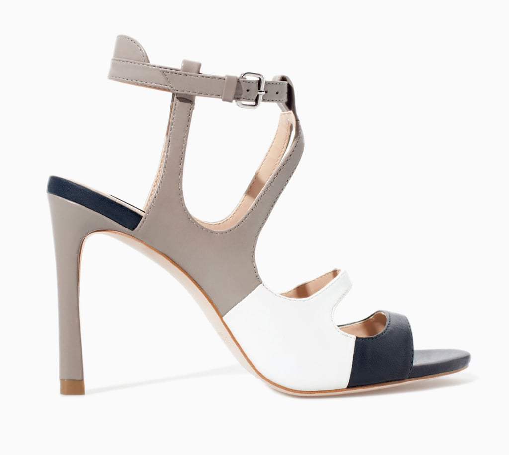 Zara colorblock gray, white, and navy heels ($90)