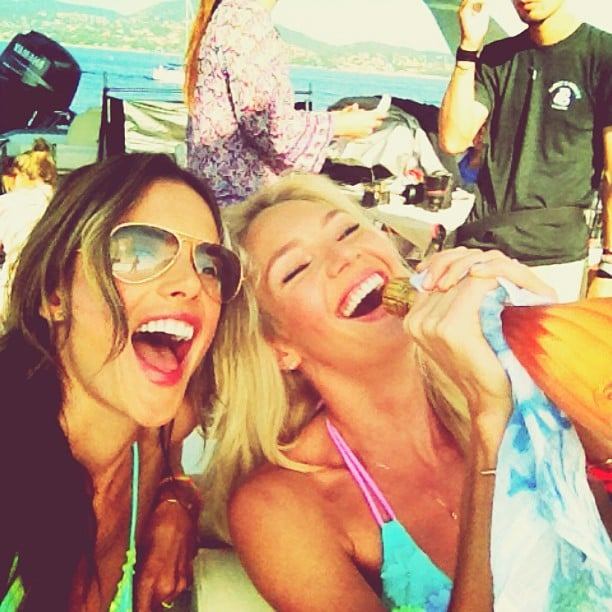 Alessandra Ambrosio and Candice Swanepoel got their party on during a photo shoot in St.-Tropez. Source: Instagram user alessandraambrosio