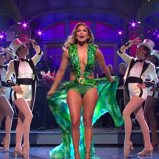 Jennifer Lopez Wore Her Versace Green Dress in SNL Monologue