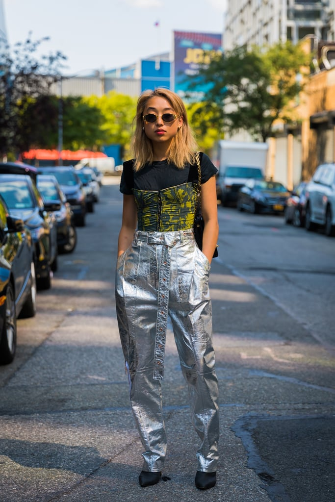 Metallic leather is a surprise on its own, but you can turn up the edge with a bustier top or something that's got street style pizzazz, like outrageous sunglasses.