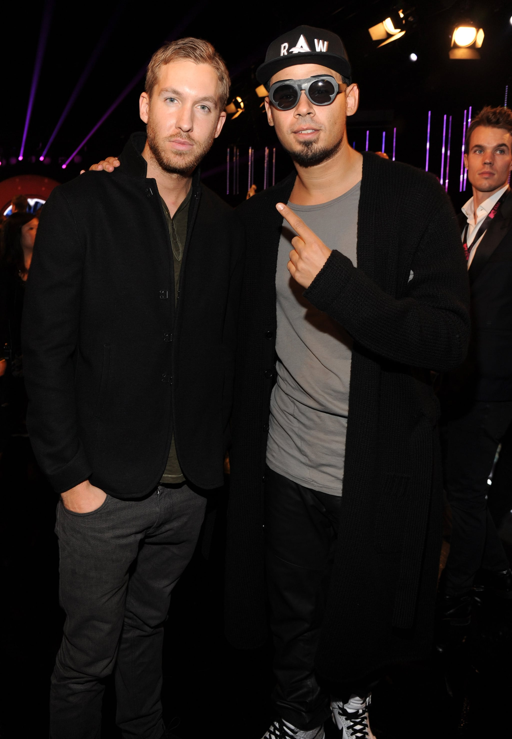 Calvin Harris and DJ Afrojack posed together during the show.