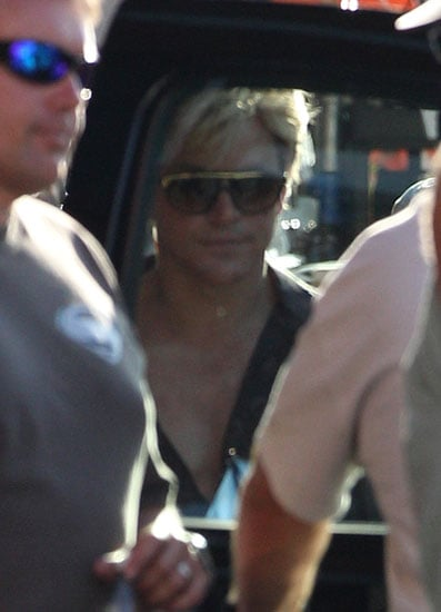 Matt Damon displayed a bare chest on the set of his new film, Behind the Candelabra.
