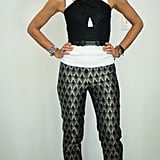 With Printed Pants, a Crop Top, and Black Pumps