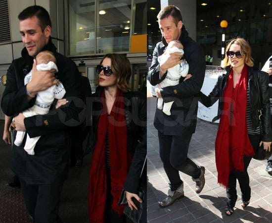 Pictures of Dannii Minogue With Kris Smith and Baby Ethan Arriving in the UK For The X Factor Live Shows