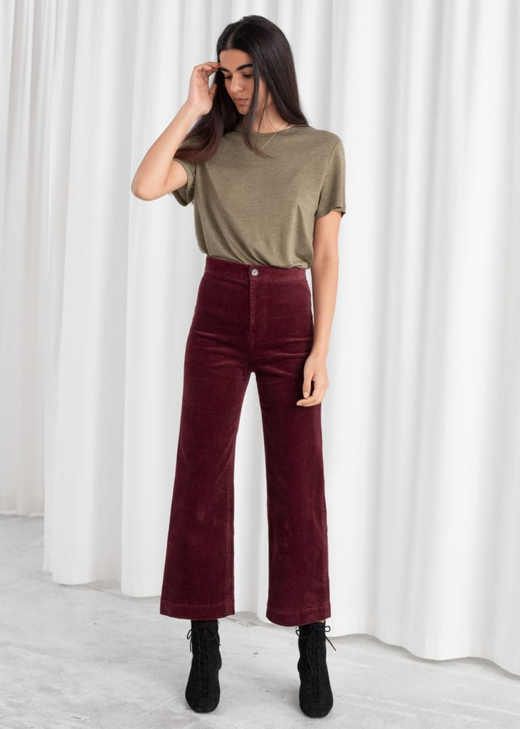 & Other Stories Relaxed Corduroy Trousers in Dark Red