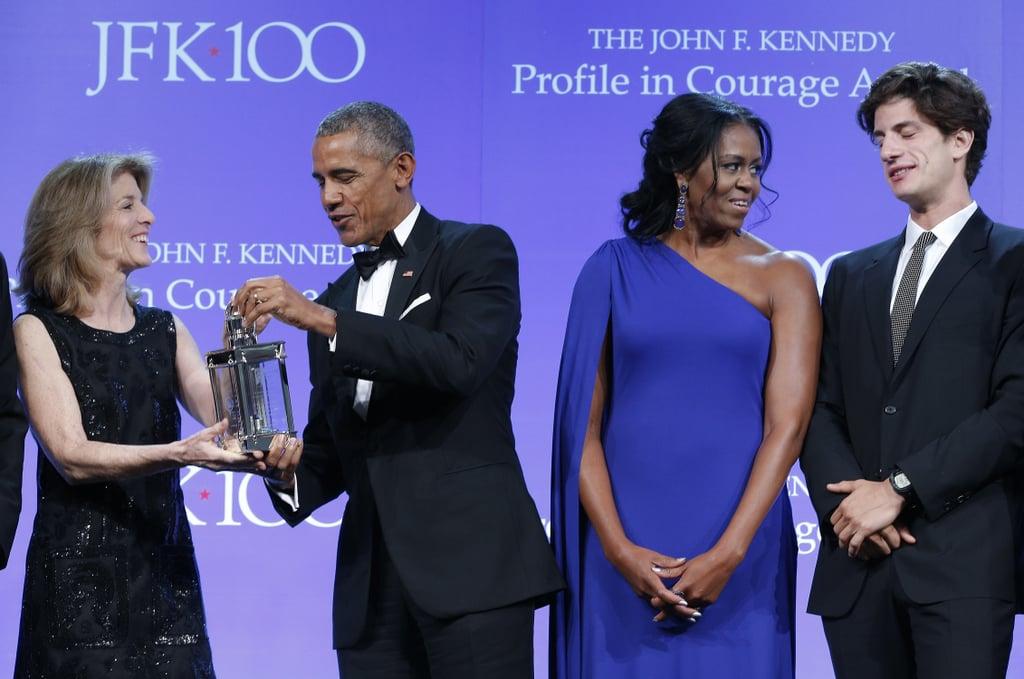 Michelle Obama Wears One-Shoulder Blue Dress
