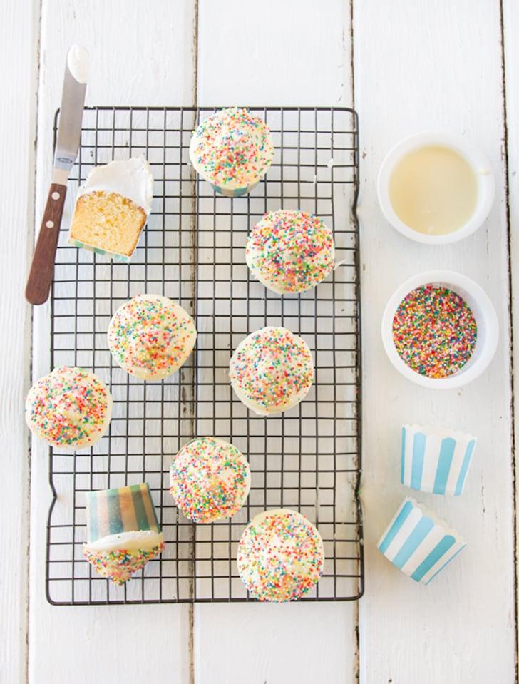 White Chocolate Hi-Hat Cupcakes With Rainbow Sprinkles
