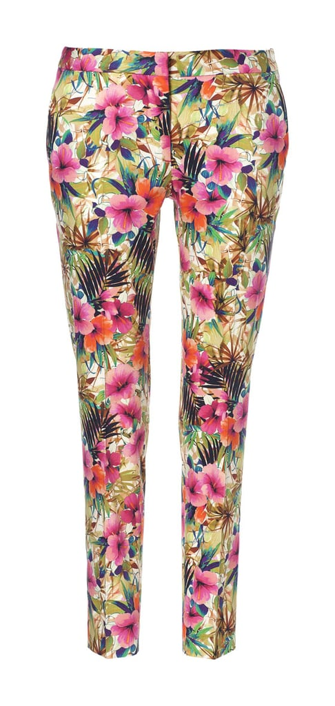 Summer-ready pants can be hard to come by, especially seeing as how capris have gotten a bad wrap over the years. To score cropped trousers that don't enter into pedal-pusher territory, I look for a tailored silhouette and a narrow opening right above the ankle, like with this bold floral pair from Zara ($60).  — KS