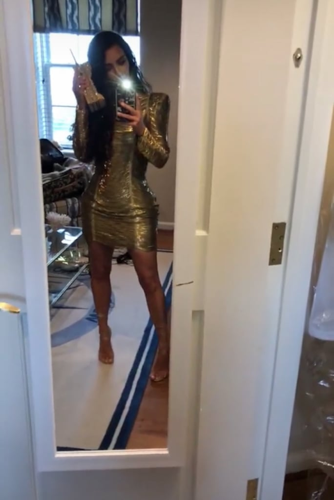 Kim Kardashian Gold Balmain Dress at Pusha T's Wedding