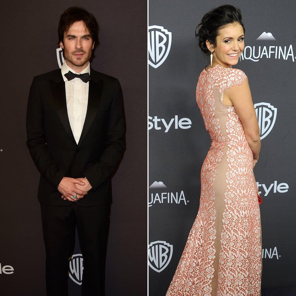 Ian Somerhalder and Nina Dobrev at the Golden Globes