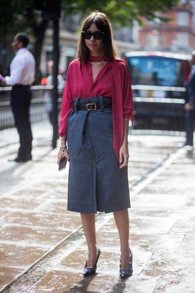 Fully Tucked in a High-Waisted Skirt With Neck Ties Creating Length