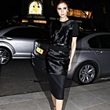 Victoria in a velvet sheath to attend the Woolmark Prize Awards in 2013.