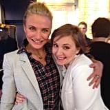 Cameron Diaz and Lena Dunham shared a hug during their visits to Good Morning America. Source: Instagram user camerondiaz