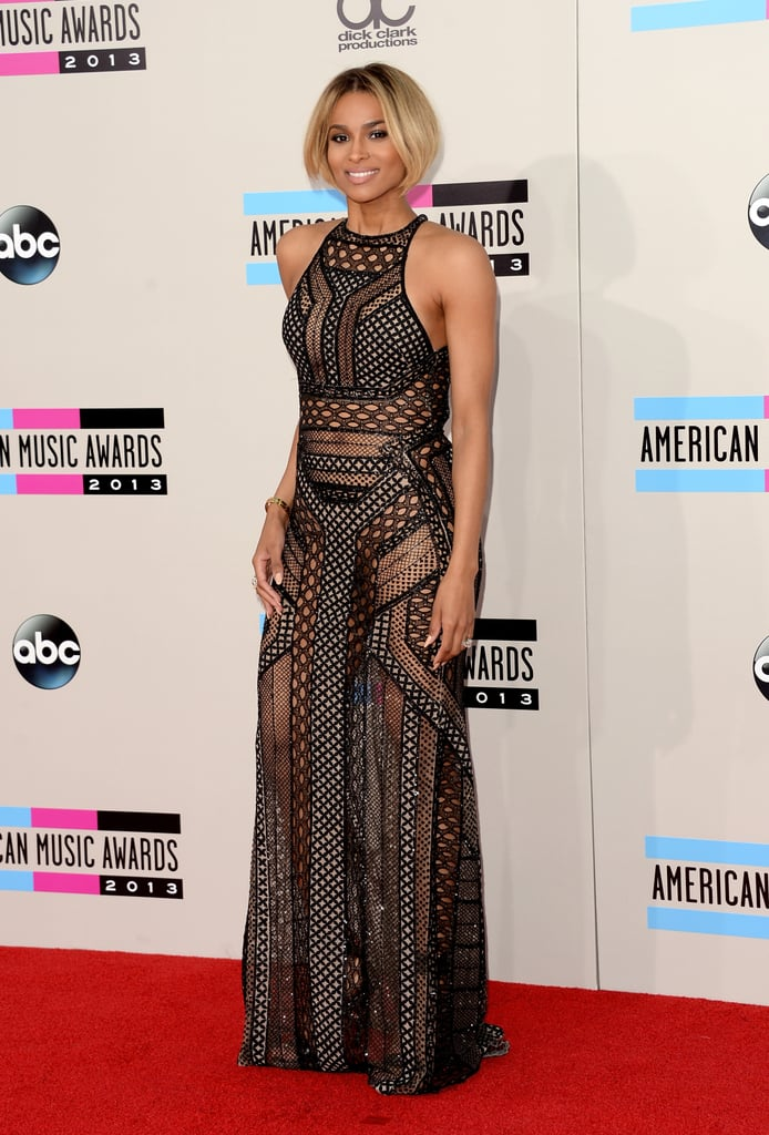 Leave it to Ciara to nail a sexy-meets-chic dress code on the red carpet. Sheer overlay and flashes of skin added a sultry vibe to her black maxi dress.